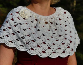 Sale! Lacy Crochet Capelet, Crochet Poncho,Ponchette,  Womens Shawl, Womens Poncho, Shoulder Warmer, Gift for Her