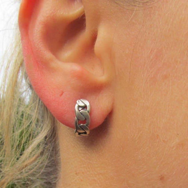 Silver Stud Earrings Chain Stud Earrings.Open Hoop Earrings.Silver Elegant Earrings.Silver 925