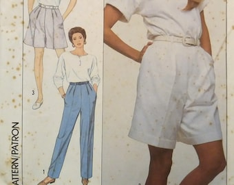 Simplicity 9108 Christie Brinkley Pleated Pants or Shorts Sewing Pattern Size 18- 20- 22 Uncut