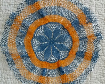 """Blue and Orange Hand Crocheted Doily ,Excellent condition,measure: 18"""""""