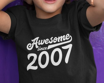 Awesome Since 2007 12th Birthday Shirt Boys Girls Gift For 12 Years Old Daughter Son Age