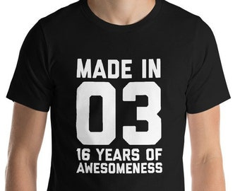 16th Birthday Shirt For Boys Girls Gift Daughter Son Ideas 16 Years Old