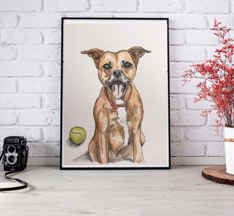 Pet Watercolour from Photo Pet Memorial Personalised Dog Portrait Custom Pet Portrait Personalized Cat or Dog Drawing