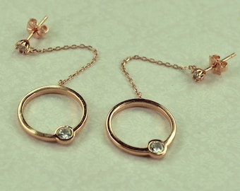 Silver 925 earrings rose gold color with white zircon cycle