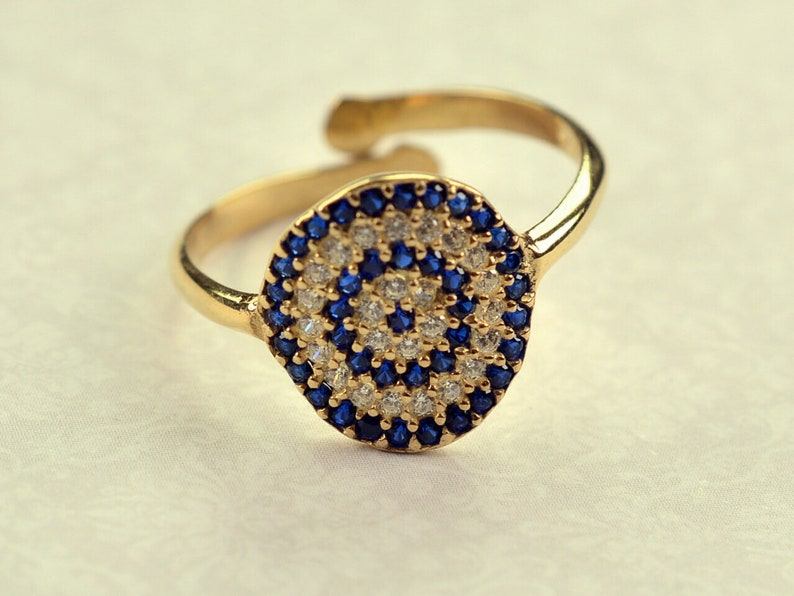Silver 925 yellow ring cycle of life  multisize white zircon blue stone