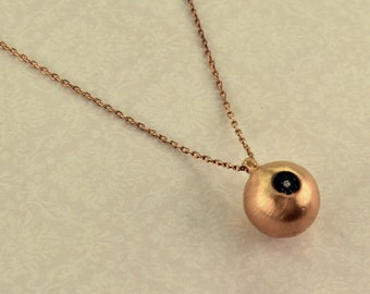 Silver 925 necklace rose gold blue and white zircon eye ball