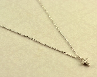 Silver 925 necklace cross white gold with white zircon