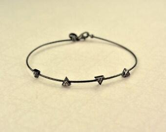 Silver 925 handcuff black color with white zircon