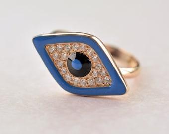 Silver 925 multisize rose gold white zircon eye blue