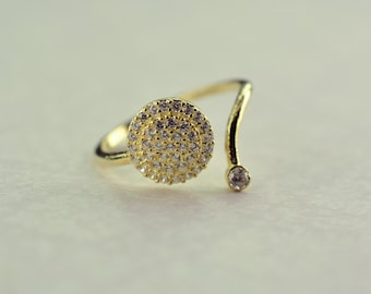 Silver 925 multisize gold color ring white zircon