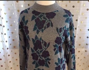 Gorgeous Floral Vintage 80's/90's Mock Turtleneck Sweater