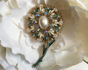 Large Vintage Florenza Jeweled and Painted Flower Brooch Pin 1960's