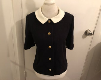 8 Vintage Buttons...Fitted 1950 Tailored by Bardley Kilpatrick/'s Omaha Gray Wool JacketBlazer  for Country and Town....Peter Pan Collar