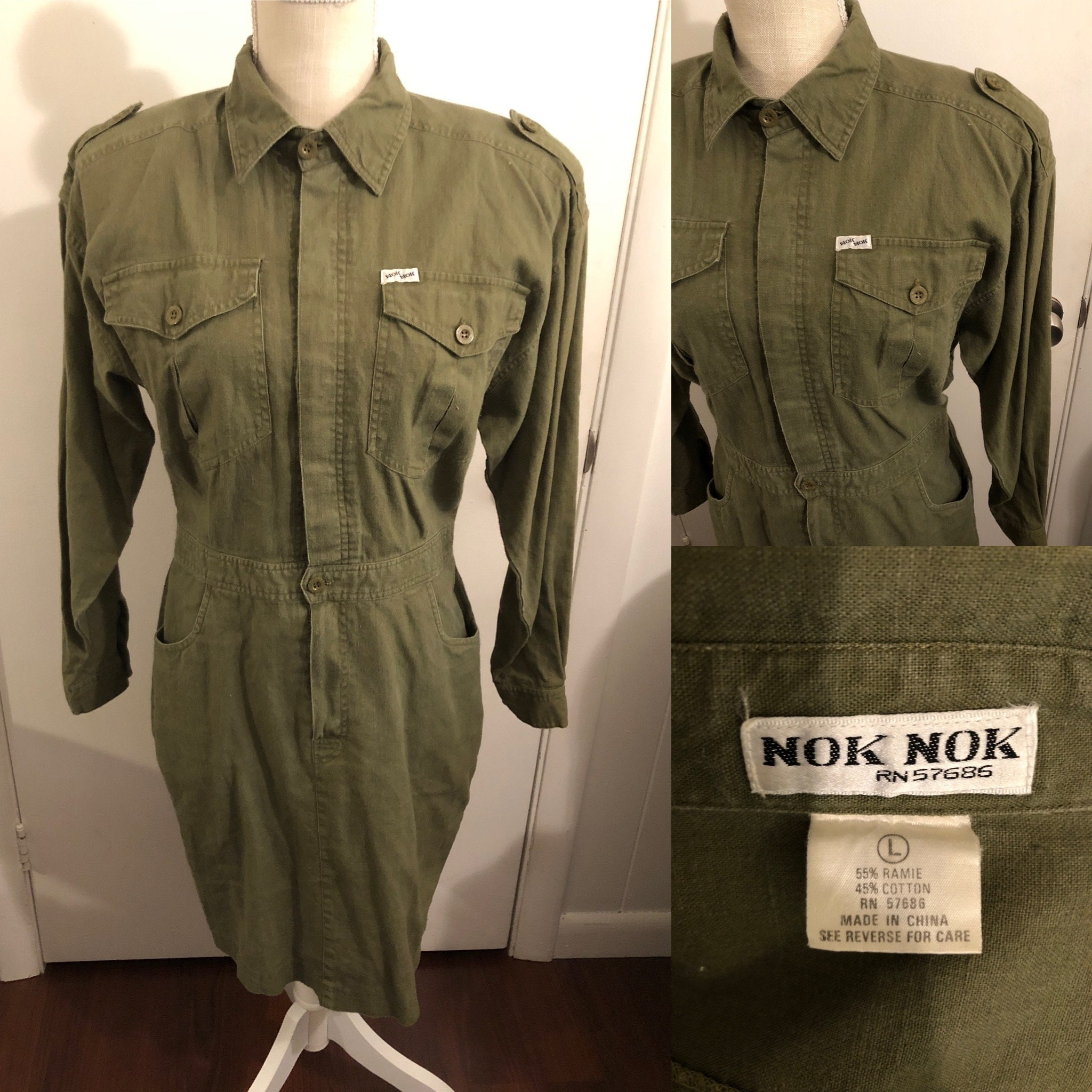 80s Dresses   Casual to Party Dresses Vintage 1980s Nok Military Style Green Dress $0.00 AT vintagedancer.com