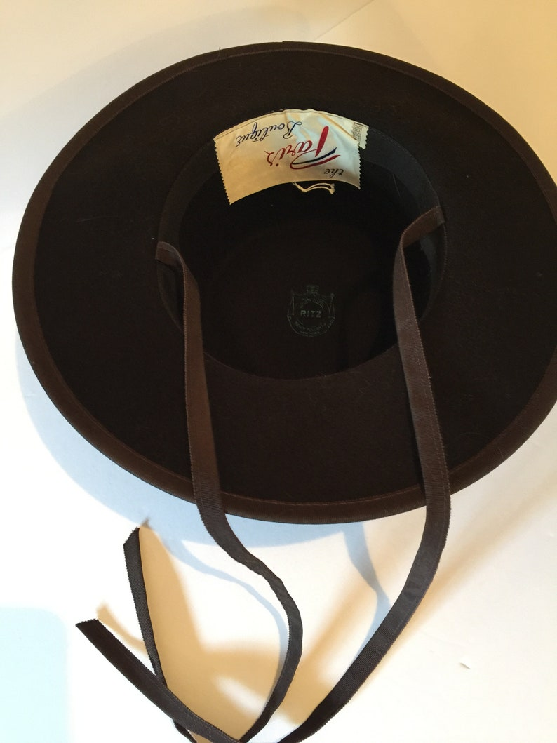 Stunning Vintage 1950s Henry Pollak Ritz New York Brown Wool Felt Hat Equestrian Hat Paris Boutique Size Medium