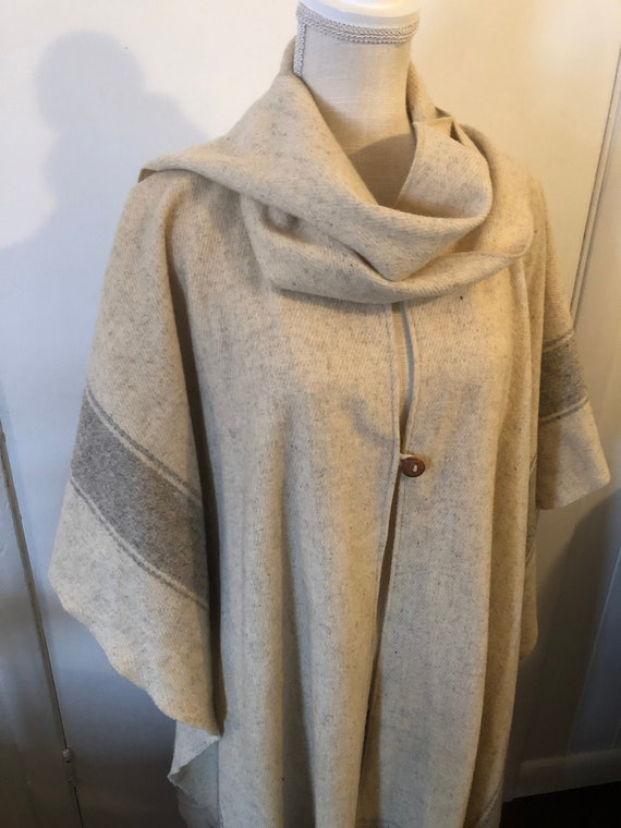 Wool Poncho Blanket Beige Gray Fringe Shawl Wrap O