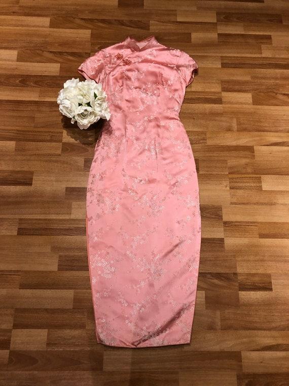 Vintage Pink Floral Long Cheongsam Satin Pastel Dr
