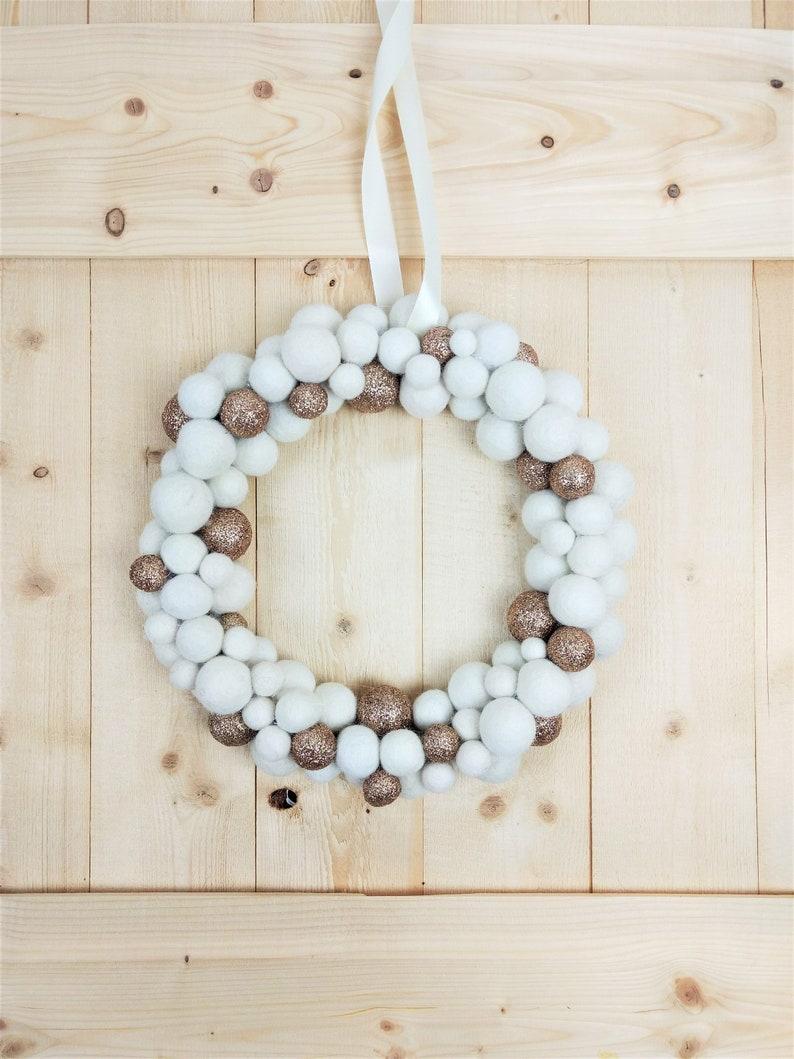 Gold Felt Ball Wreath Christmas Wreath for Noel Decoration | Etsy