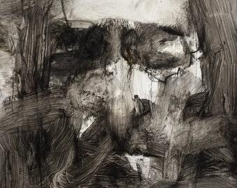 Untitled Study, original charcoal and Liquin drawing on greyboard, by Sasha Mihajlovic