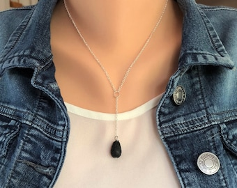 Diffuser Necklace, Silver Lariat Necklace, Teardrop Lava Bead Necklace, Aromatherapy Jewelry, Simple Diffuser Necklace
