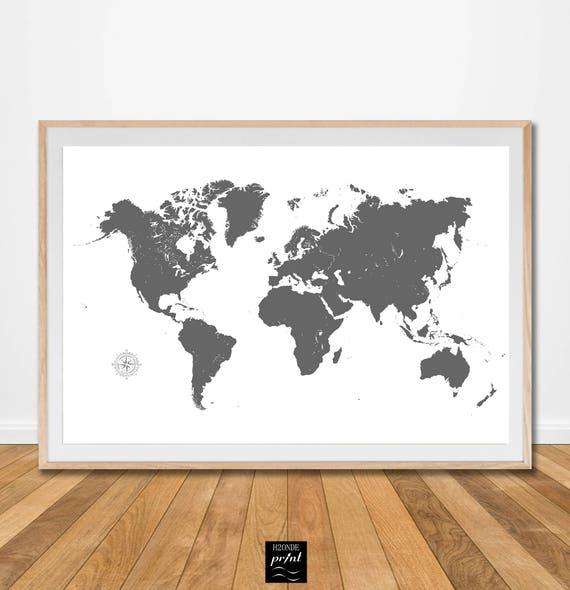 Cartina Geografica Mondo Quadro.Stampa Digitale Mappa Mondo Planisfero Carta Geografica Quadro Etsy