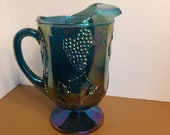 Vintage Opalescent Carnival Glass Harvest Grape Pitcher, Carnival Glass Indiana Peacock Blues Large Pitcher, Indiana Blue Pedestal Pitcher