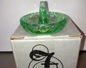Fenton Opalescent Green Ring Dish, Green Iridescent Fenton Ring Holder, Green Carnival Glass Ring Holder, Bridal Gifts, Fenton Ring in Box