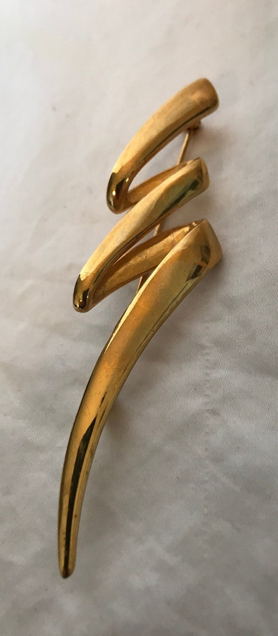 Vintage Gold Squiggle Pin Brosche, Gold Baum Pin Brosche, Gold Squiggle Schmuck, Goldton Baum Pin, große Gold Weihnachtsbaum Pin Brosche