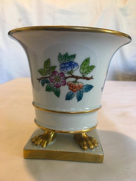 Vintage Herend Queen Victoria Gold Trim Claw Footed Urn Vase Etsy