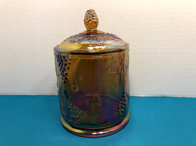 Vintage Indiana Gold Carnival Glass Harvest Grape Canister Jar 21.21