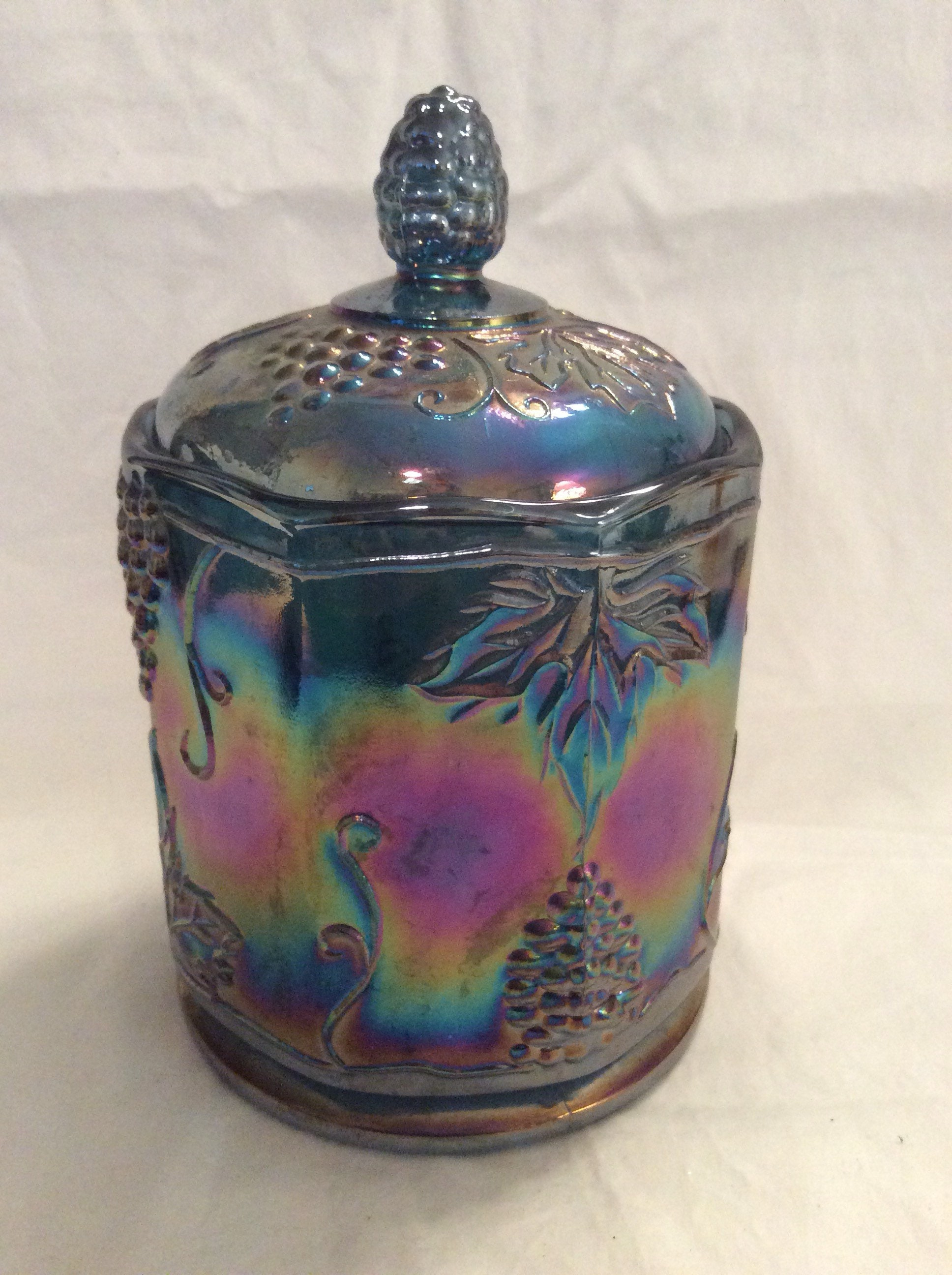 Vintage Opanescent Carnival Glass Harvest Grape Canister, Carnival Glass  Indiana Peacock Blues Coverd Canister, Indiana Blue Carnival Glass