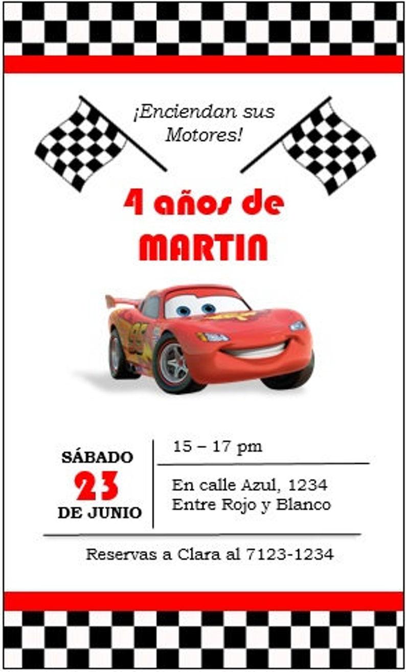 Invitación De Cumpleaños Cars