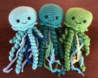 Happy Jellyfish Crochet Toy Plush Tentacles, multicolor ocean blue ...   270x340