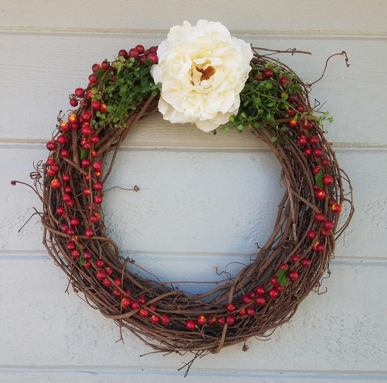 Berry Wreath-Rustic Christmas Wreath-Fall Wreath-Front Door Wreath-Fall Decor-Christmas Decor-Thanksgiving Decor-Grapevine Wreath