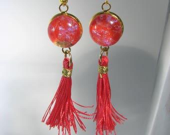 Dichro Tassel Earrings Cherry Red
