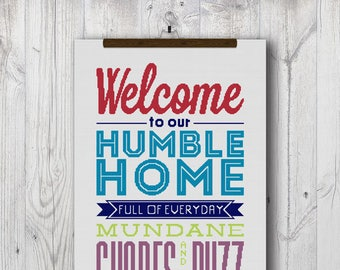 Humble Home (Welcome Sign), Counted Cross Stitch Pattern, PDF Instant Download