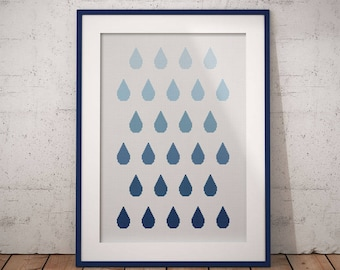 Ombre Rain (Wall Art), Counted Cross Stitch Pattern, PDF Instant Download
