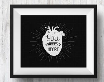 You Are My Heart, Counted Cross Stitch Pattern, PDF Instant Download
