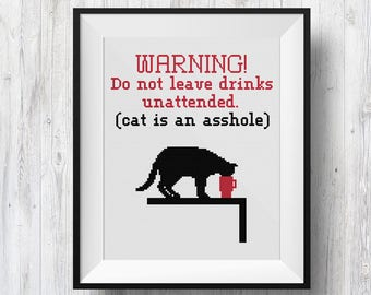 Cat is an AS@#&*! (Funny Sign), Counted Cross Stitch Pattern, PDF Instant Download
