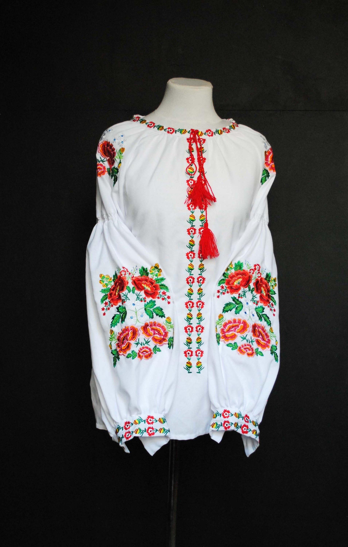 White Embroidered Flower Blouse Ukrainian Blouse For Etsy