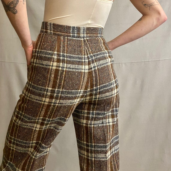 1970s Plaid Bell Bottom Trousers- Vintage Wool Tro