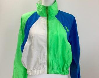 1980s Neon Avia Windbreaker - Vintage Activewear - 1980s Windbreaker - Retro Fitness - Neon Warmup - Avia Activewear