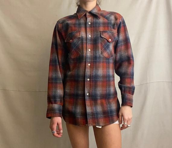 Vintage Pendleton Snap Button Wool Flannel - Vinta