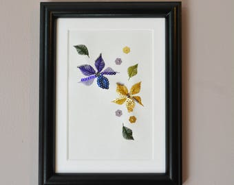 Purple + Yellow Embroidered Art
