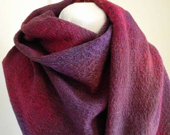 Handwoven Shawl / Scarf, hand dyed cotton