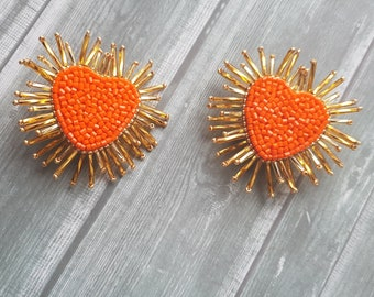 7a062bb6de5 Heart burst earring Orange earrings Heart-shaped beadwork earring Stud  earrings Embroidered earrings Gift for woman Olivia style Trend 2019
