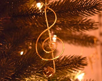 Treble Cleff Ornament, Music of Christmas, Christmas Carol, Silver Christmas ornament, Gold Christmas ornament, Handmade Christmas ornament