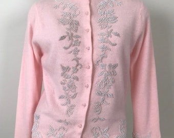 e4381fd0c3 Vintage 50s Pink White Beaded Cardigan Sweater