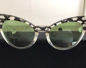 47e7f68bd7b Vintage 50s Rare Lumar Black Gold Glitter Cat Eye Glasses