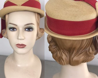 Vintage 50s Straw Hat With Red Ribbons b8f5d25c6d6